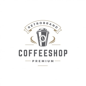 Coffee shop logo template cup with bean silhouette with retro typography vector illustration