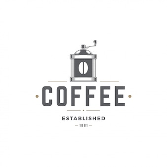 Coffee shop logo template grinder silhouette with retro typography vector illustration
