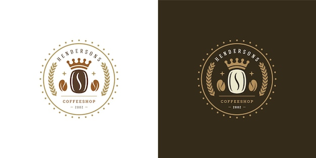 Coffee shop logo template illustration set