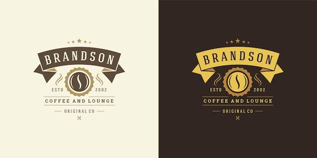Coffee shop logo template illustration set