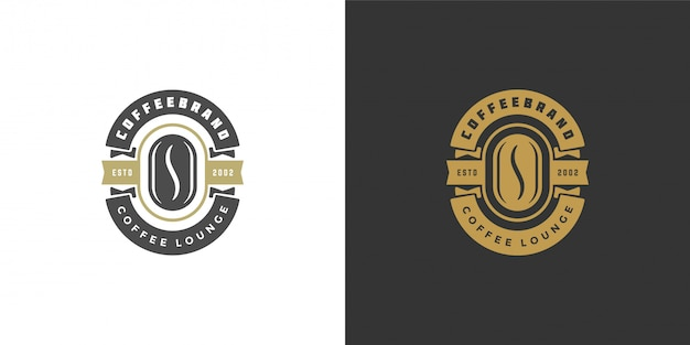 Coffee shop logo template  with bean silhouette good for cafe badge design and menu decoration