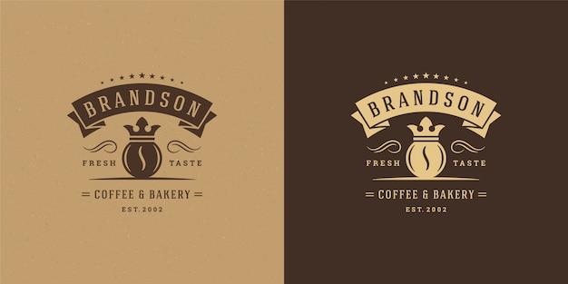 카페 배지 디자인 및 메뉴 장식에 좋은 콩 실루엣이있는 커피 숍 로고 템플릿
