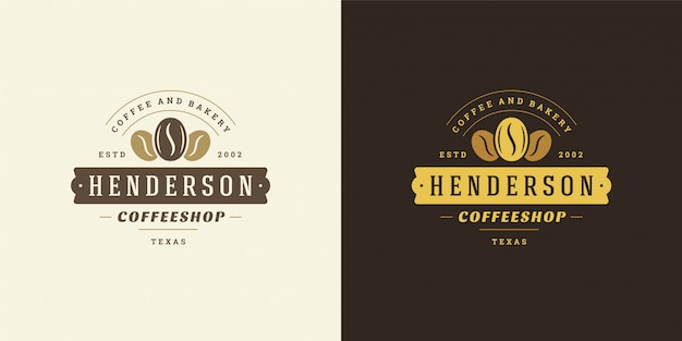 カフェのバッジのデザインとメニューの装飾に良い豆のシルエットのコーヒーショップのロゴのテンプレート