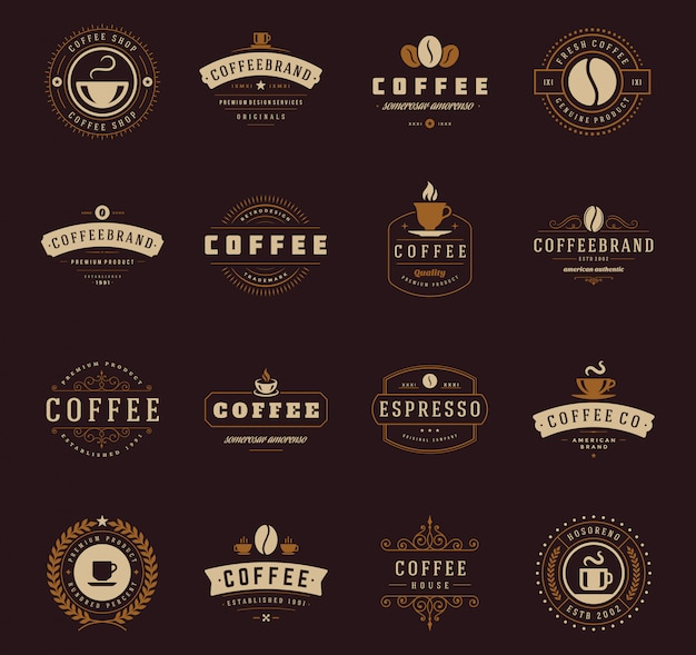 Coffee shop logo templates set,