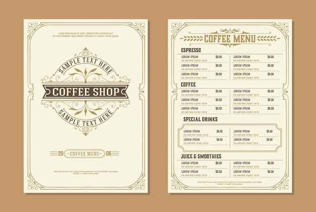 Coffee shop logo with coffee menu  brochure template. vintage typographic decoration elements.