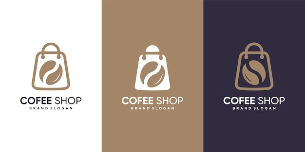 モダンなミニマリストコンセプトのコーヒーショップのロゴ