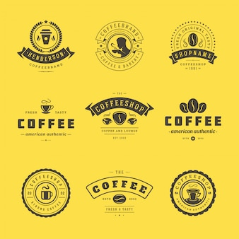 Coffee shop logos design templates set for cafe badge design and menu decoration