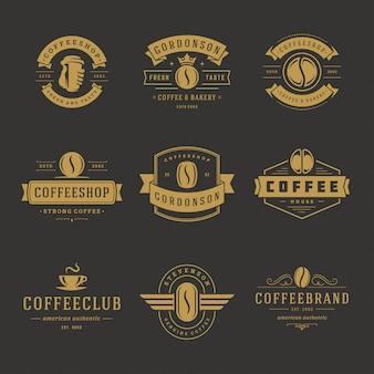 카페 배지 디자인 및 메뉴 장식을위한 커피 숍 로고 디자인 템플릿 세트