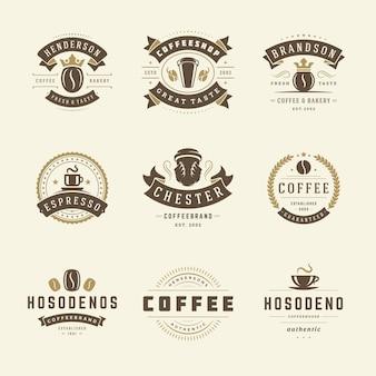 Набор шаблонов дизайна логотипов кафе для дизайна значков кафе и украшения меню