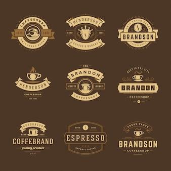 コーヒーショップのロゴデザインテンプレートカフェバッジのデザインとメニューの装飾の設定