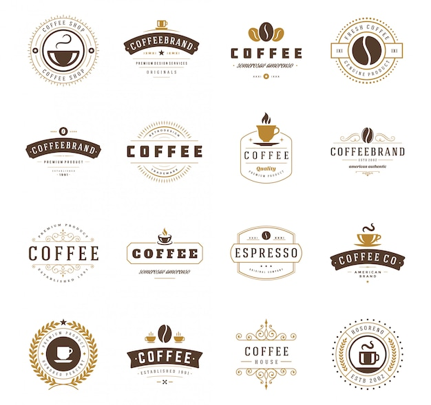 Coffee shop logos design templates set vector illustration