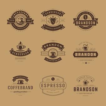 Набор шаблонов дизайна логотипов кофейни