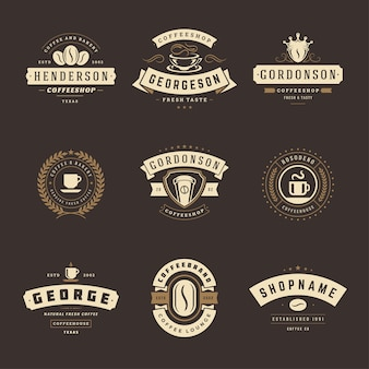 Coffee shop logos design templates set