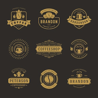 Coffee shop logos design templates set