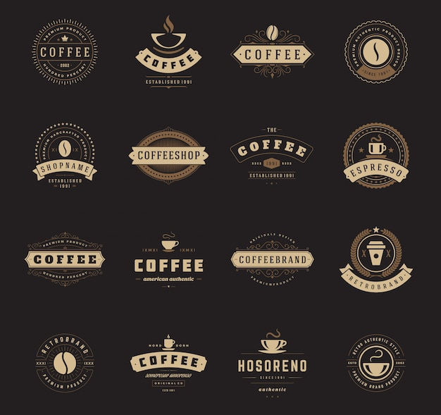 Coffee shop logos templates set illustration.