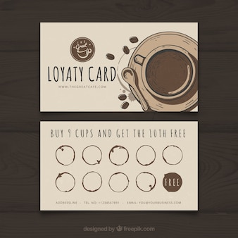 Coffee shop loyalty card template with elegant stye