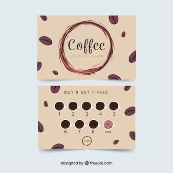エレガントなスティを持つコーヒーショップのロイヤリティカードテンプレート