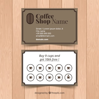 우아한 stye와 커피 숍 충성도 카드 템플릿