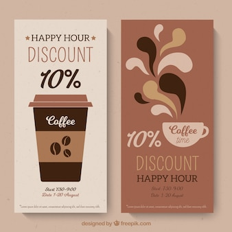 Coffee shop loyalty card template with flat design