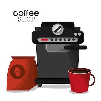 커피 숍 기계 가방 및 빨간 컵