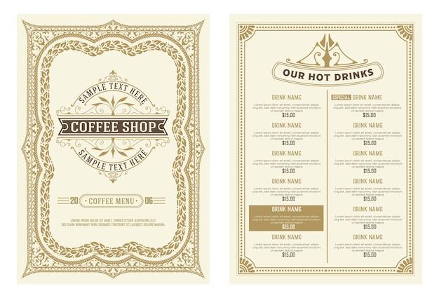 コーヒーショップのメニューとロゴのデザインチラシテンプレート