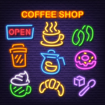 Coffee shop neon icons
