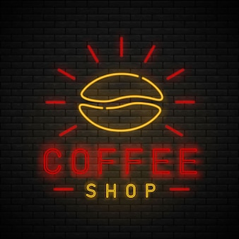 Кофейня неоновый свет светящийся знак логотип. кафе неоновая вывеска на кирпичной стене. перерыв на кофе.