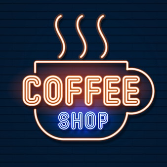 Coffee shop neon logo