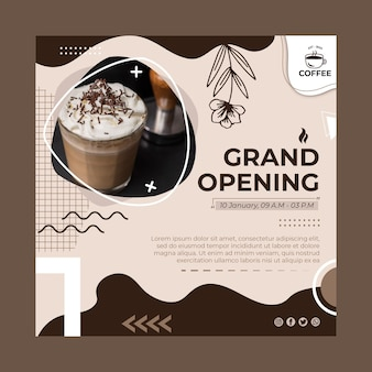 Coffee shop opening squared flyer template