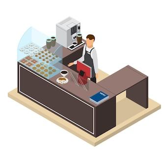 コーヒーショップまたはバーカウンターとバリスタマンアイソメトリックビュー要素のデザインインテリア。図