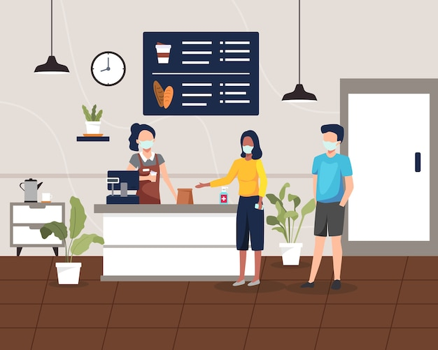 健康プロトコルを備えたコーヒーショップまたはカフェ。人々は社会的な距離を維持し、コーヒーショップのコンセプトを奪います。コーヒーショップバーカウンターのデザイン、顧客はコーヒーとデザートを購入します。フラットスタイルで