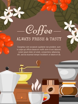 Coffee shop poster illustration. organic coffee. always fresh and natural. barista equipment such as espresso machine, coffee beans, pot. plants.