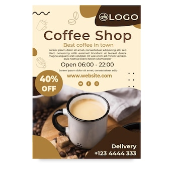 Coffee shop poster template with discount