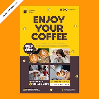 Coffee shop promotion poster in flat design style