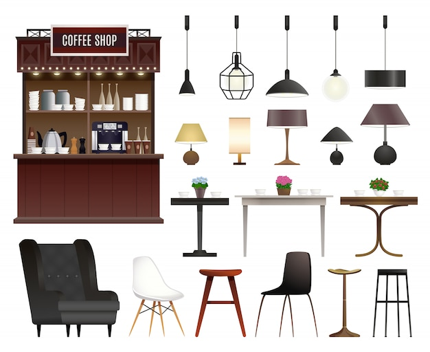 Coffee shop realistic set