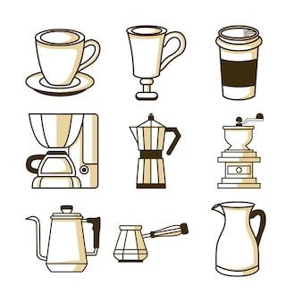 Coffee shop related equipment illustration set