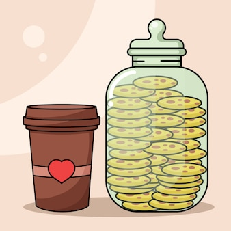 Coffee shop related icon with coffee cup and jar of cookies