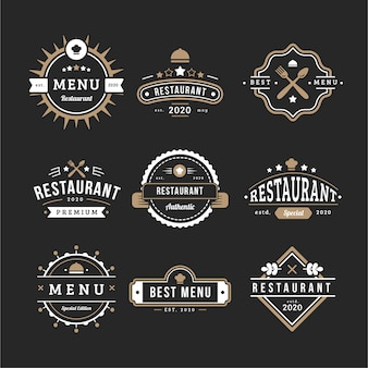 Coffee shop retro logo collection menu