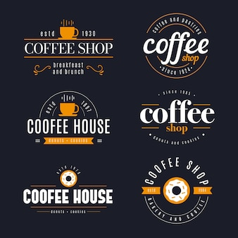 Coffee shop retro logo collection