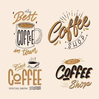Coffee shop retro logo collection Free Vector