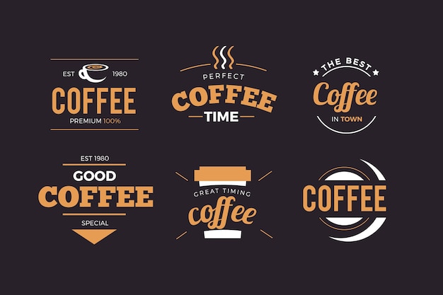 Coffee shop retro logo pack