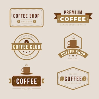 Coffee shop retro logo set