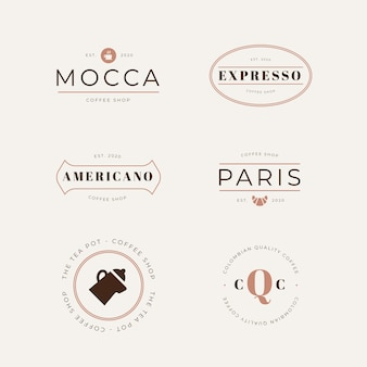 Coffee shop retro style logo collection