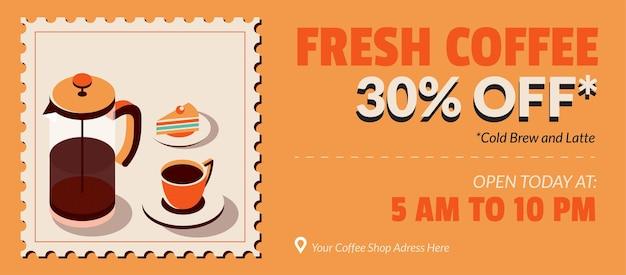Coffee shop sale banner in postage stamp illustration