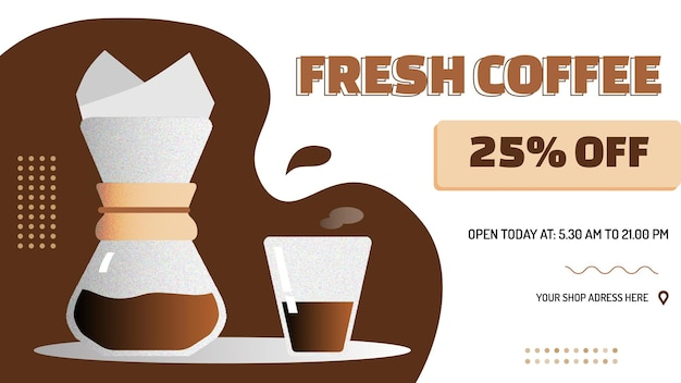 Coffee shop sale and promotional banner with cup of coffee made with manual brew