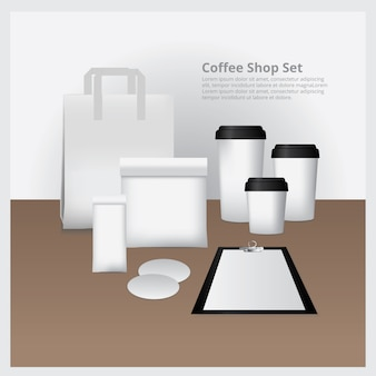 Coffee shop set mock up vector illustration