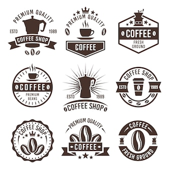 Coffee shop set of monochrome labels, badges or emblems isolated on white background