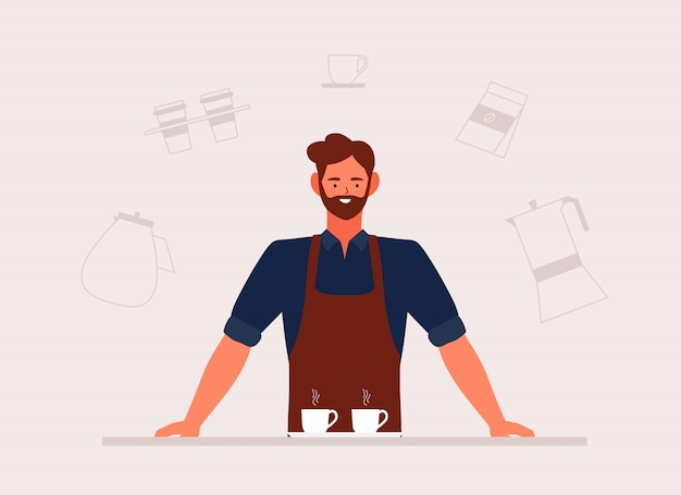 Иллюстрация кофейни малого бизнеса и человек barista в переднике с нарисованной рукой машиной и аксессуарами в кофейне