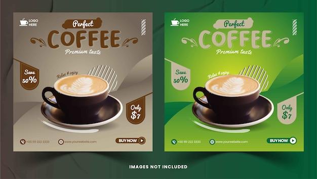 Coffee shop social media instagram posts vector
