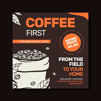 Coffee shopsquare flyer template